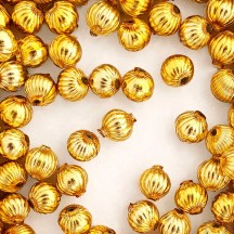 8 Gold Ribbed Round Glass Beads 12 mm ~ Czech Republic