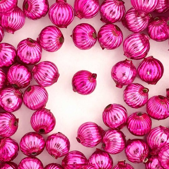 8 Hot Pink Ribbed Round Glass Beads 12 mm ~ Czech Republic