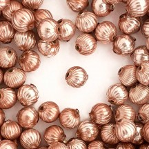 8 Pearl Rose Ribbed Round Glass Beads 12 mm ~ Czech Republic