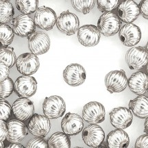 8 Silver Ribbed Round Glass Beads 12 mm ~ Czech Republic