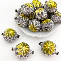 """Large Silver and Chartreuse Fancy Victorian-style Star Blown Glass Bead ~ Germany ~ 1-1/2"""""""