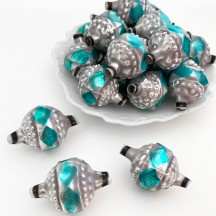 """Large Silver and Blue Fancy Victorian-style Blown Glass Bead ~ Germany ~ 1-1/2"""""""