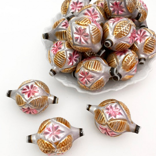 """Large Gold and Pink Fancy Starburst Victorian-style Blown Glass Bead ~ Germany ~ 2"""""""