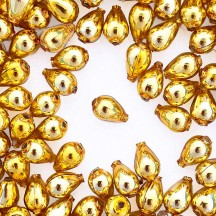 "10 Gold Drop Blown Glass Beads .5"" ~ Czech Republic"