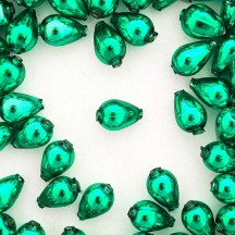 "10 Green Drop Blown Glass Beads .5"" ~ Czech Republic"