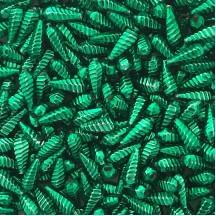 """10 Green Ribbed Drop Blown Glass Beads .75"""" ~ Czech Republic"""