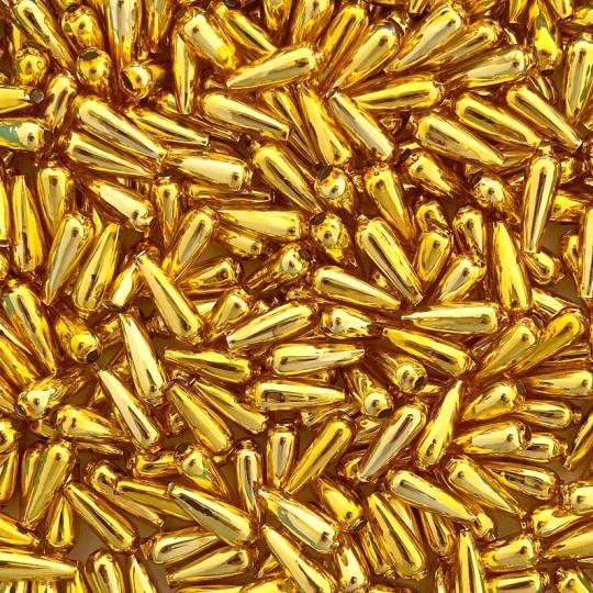 """10 Gold Drop Blown Glass Beads .625"""" ~ Czech Republic"""