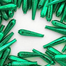 "6 Green Long Ribbed Drop Glass Beads 1.25"" ~ Czech Republic"