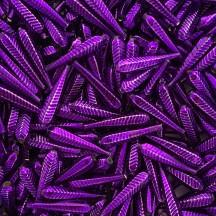 "6 Purple Long Ribbed Drop Glass Beads 1.25"" ~ Czech Republic"