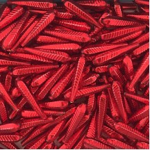 "6 Red Long Ribbed Drop Glass Beads 1.25"" ~ Czech Republic"