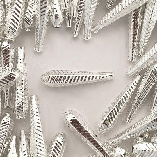 "6 Silver Long Ribbed Drop Glass Beads 1.25"" ~ Czech Republic"