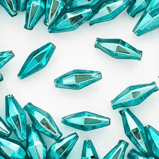 "7 Aqua Diamond Cut Blown Glass Beads 1"" ~ Czech Republic"