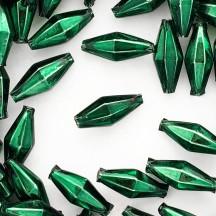 """7 Dark Green Diamond Cut Blown Glass Beads 1"""" ~ Czech Republic"""