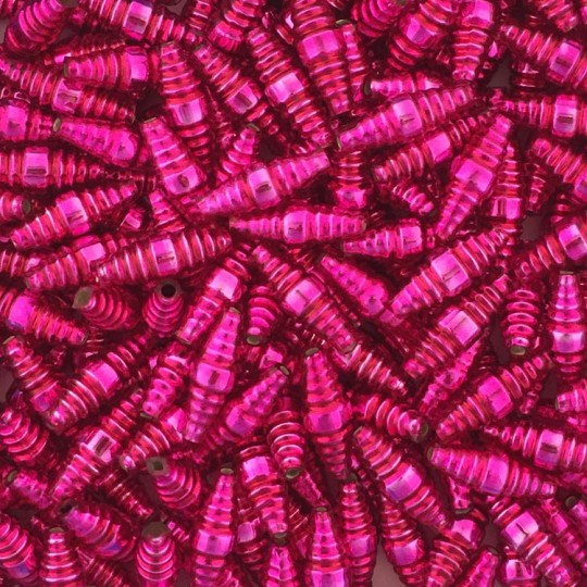 "6 Hot Pink Ribbed Barrel Blown Glass Beads 1"" ~ Czech Republic"