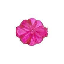 """7 Clear Hot Pink Flower Blown Glass Beads .625"""" ~ Czech Republic"""