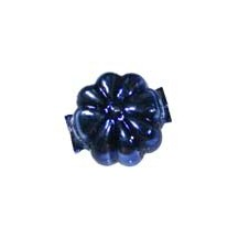 "7 Dark Blue Fancy Flower Blown Glass Beads .625"" ~ Czech Republic"