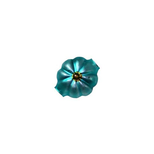"7 Matte Aqua with Golden Centers Flower Beads .625"" ~ Czech Republic"