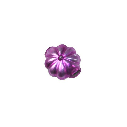 "7 Matte Magenta Fancy Flower Blown Glass Beads .625"" ~ Czech Republic"