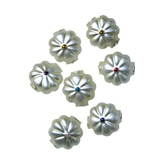 "7 Matte White with Mixed Centers Flower Beads .625"" ~ Czech Republic"