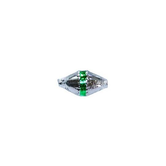 "6 Silver Classic Barrel Glass Beads with Green Stripe 1"" ~ Czech Republic"