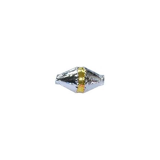 "6 Silver Classic Barrel Glass Beads with Gold Stripe 1"" ~ Czech Republic"
