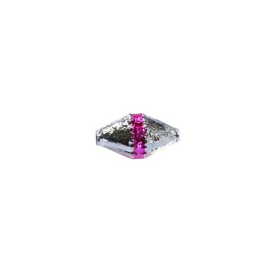 "6 Silver Classic Barrel Glass Beads with Hot Pink Stripe 1"" ~ Czech Republic"