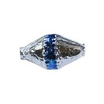 "6 Silver Classic Barrel Glass Beads with Blue Stripe 1"" ~ Czech Republic"