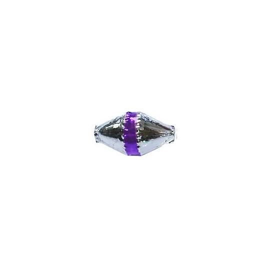 "6 Silver Classic Barrel Glass Beads with Purple Stripe 1"" ~ Czech Republic"