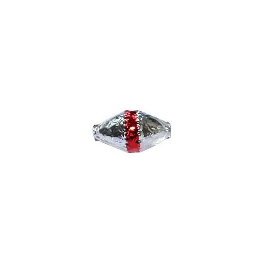 "6 Silver Classic Barrel Glass Beads with Red Stripe 1"" ~ Czech Republic"