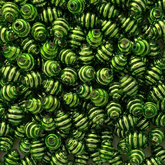 "6 Green Banded Round Glass Beads .625"" ~ Czech Republic"