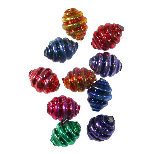 """10 Mixed Colors Banded Round Glass Beads .625"""" ~ Czech Republic"""