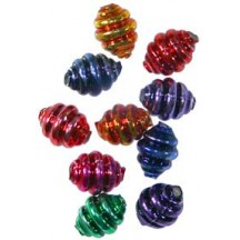 "10 Mixed Colors Banded Round Glass Beads .625"" ~ Czech Republic"