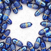 "6 Blue + Gold Glitter Acorn Blown Glass Beads .75"" ~ Czech Republic"