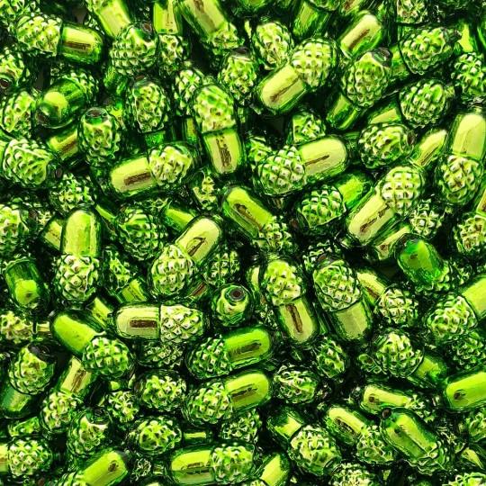 """6 Lime Green Acorn Blown Glass Beads .75"""" ~ Czech Republic"""