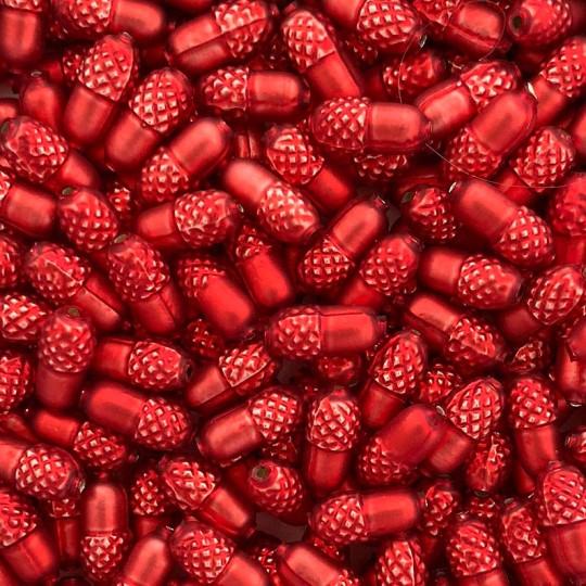 """6 Matte Red Acorn Blown Glass Beads .75"""" ~ Czech Republic"""
