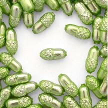 """6 Pearl Green Acorn Blown Glass Beads .75"""" ~ Czech Republic"""