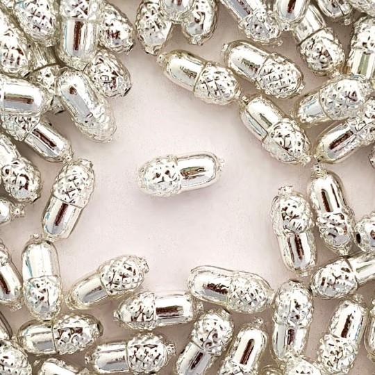 """6 Silver Acorn Blown Glass Beads .75"""" ~ Czech Republic"""