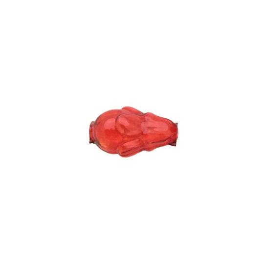 """6 Clear Red Flower Bud Blown Glass Beads .75"""" ~ Czech Republic"""