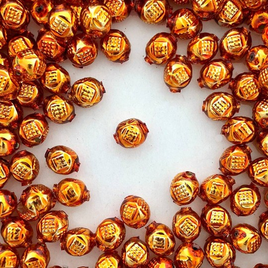 "10 Copper Fancy Round Blown Glass Beads .5"" ~ Czech Republic"