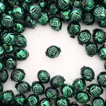 "10 Dark Green Fancy Round Blown Glass Beads .5"" ~ Czech Republic"
