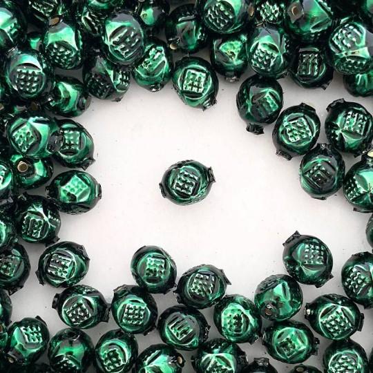 """10 Dark Green Fancy Round Blown Glass Beads .5"""" ~ Czech Republic"""