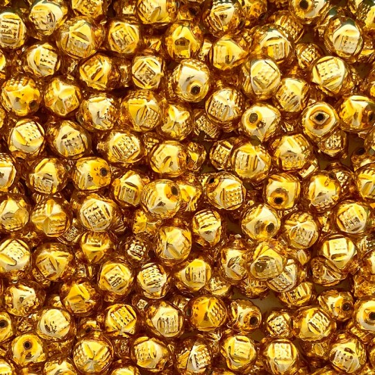 """10 Gold Fancy Round Blown Glass Beads .5"""" ~ Czech Republic"""