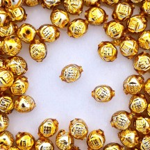"10 Gold Fancy Round Blown Glass Beads .5"" ~ Czech Republic"