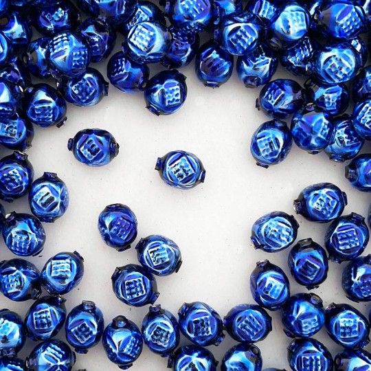 "10 Blue Fancy Round Blown Glass Beads .5"" ~ Czech Republic"