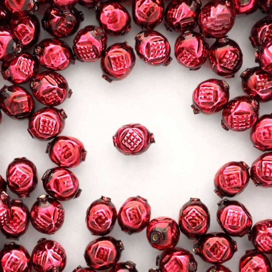 "10 Burgundy Fancy Round Blown Glass Beads .5"" ~ Czech Republic"