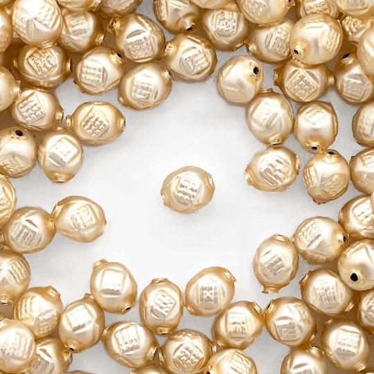 "10 Matte Champagne Fancy Round Blown Glass Beads .5"" ~ Czech Republic"
