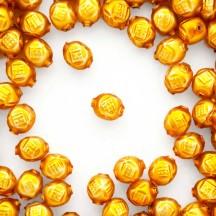 """10 Matte Goldenrod Fancy Round Blown Glass Beads .5"""" ~ Czech Republic"""