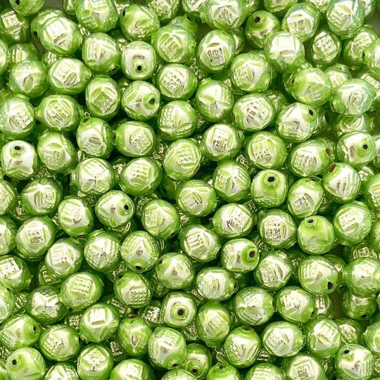 "10 Pearl Green Fancy Round Blown Glass Beads .5"" ~ Czech Republic"