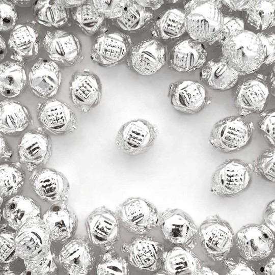 "10 Silver Fancy Round Blown Glass Beads .5"" ~ Czech Republic"