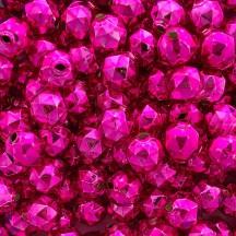 6 Hot Pink Faceted Ball Blown Glass Beads 18mm ~ Czech Republic